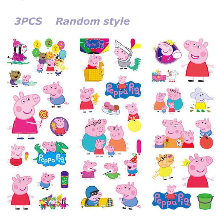 One package one sheet multiple stickers, cartoon character cartoon shape stickers, one random design 3PCS Random style