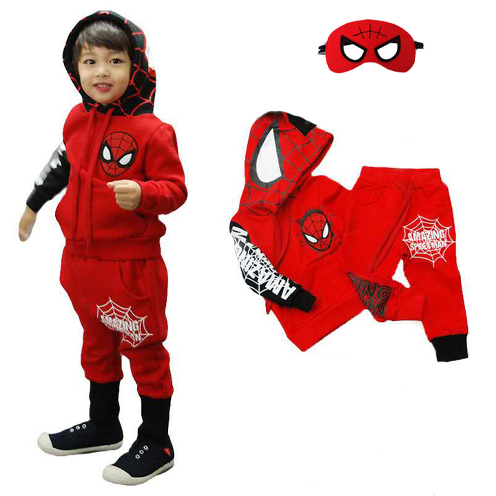 D-baby Cool boys Spider-Man Suit, Long Sleeve Top + Trousers + Eye Mask Suit, Fashion Suit PF002A 110(100cm)