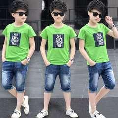 D-baby 2PCS Hot children suit, printed cotton Top + Jeans Shorts suit A 170(160cm).