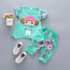 D-baby 2PCS New Fashion Girls Short Sleeve Top + Trousers Flower Printed Suit, Girls Sports Suit A 73(3-8m)