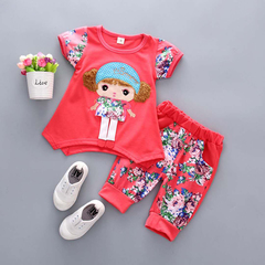D-baby 2PCS New Fashion Girls Short Sleeve Top + Trousers Flower Printed Suit, Girls Sports Suit B 73(3-8m)