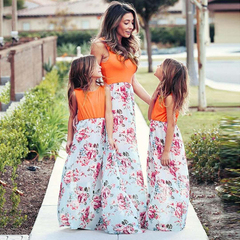 D-baby 1PC Mother or BABY Girl Dress Stiped flower Summer Casual Dresses 80 (girl) QZ005A (1PC)