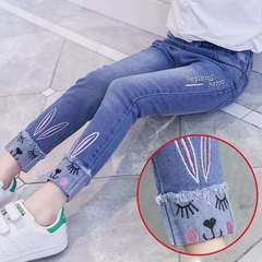 D-baby Fashion Girl Embroidered Jeans, Elastic Waist Fashion Jeans, Girl Trousers CZ001A 130CM