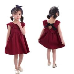 D-baby Kid Baby Girl Dress Sleeveless Bebe Children Clothes XQ009B red 110(100cm)