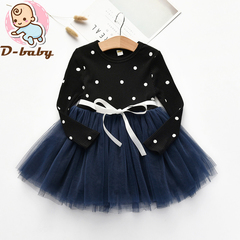 D-baby Kid Girls Princess Baby Dress Newborn Infant Baby Girl Clothes Bow Dot XQ004A black 100(90cm)