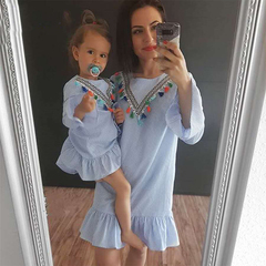 D-baby 1PC Mother or BABY Girl Dress Coloured fringed blue striped dress Summer Casual Dresses CL003B(1PC) 100(90cm)  (girl)