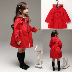 D-baby New Autum Spring Girls Kids Fashion Trend New Lapel Bowknot Long Sleeve Coat Jacket XM002A 100(90cm)