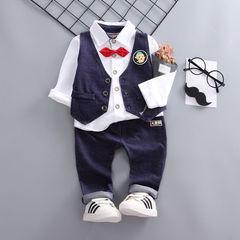 D-baby 3PCS Baby Boy Gentleman Clothing Set Top + pants + vest Formal Kid Outfit KA001A 80(66-75cm)