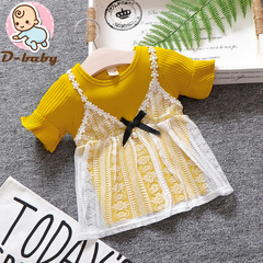 D-baby Kid Baby Girl Clothes Dress Top Short Sleeves Children Clothes For Girl XQ006A yellow 80(73cm)