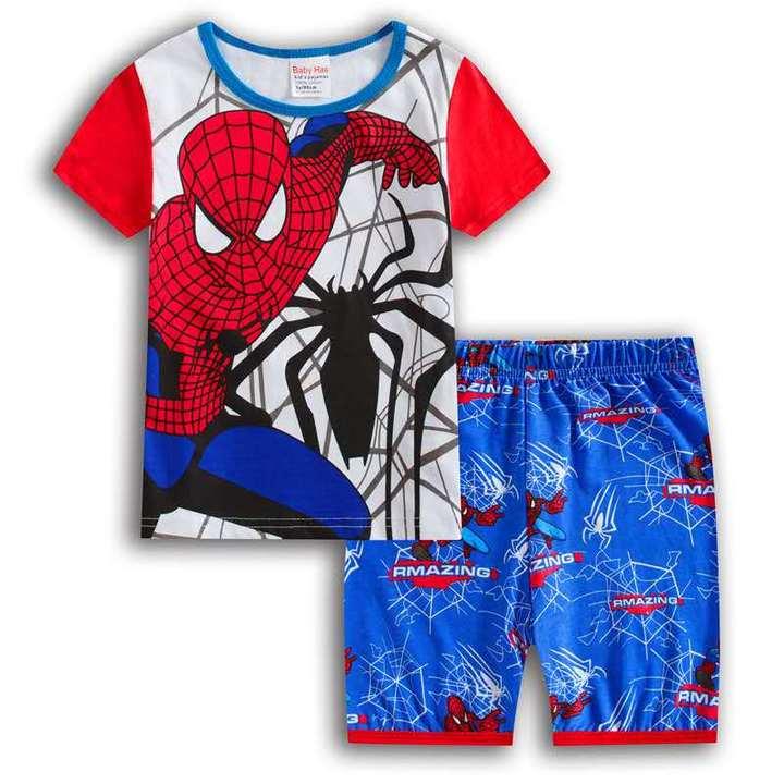 D-baby Boys Spiderman Superman Short Sleeve Shirt + Shorts Children Summer Outfits Clothes Sets XE001A 130cm