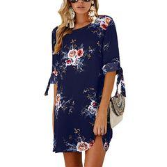 D-baby Summer ladies sexy dress, new flower print chiffon O-neck dress xl SG001A