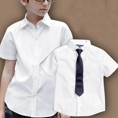 D-baby Boys and girls school collar white shirt + tie, short sleeve or long sleeve white shirt CS001A 100 cotton