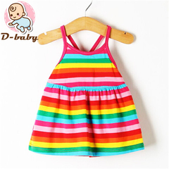 D-baby Promotion Clearance Kid Baby Girl Flower Stripes Dress Sleeveless Bebe Children Clothes TG001A 110(2-3Y)