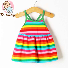 D-baby Promotion Clearance Kid Baby Girl Flower Stripes Dress Sleeveless Bebe Children Clothes TG001B 90(6-12M)
