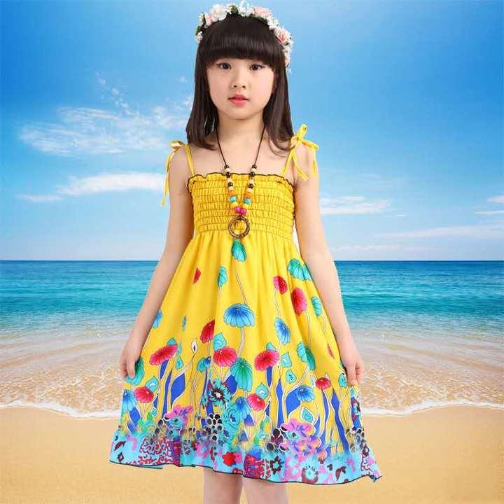 D-baby Summer Baby Girl Dress Kids Baby Girls Clothing Dresses Beautiful Flower Dress YT001A 90(80-95cm)