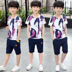 D-baby Big boy size 120-160,5-10y  2PCS Kids boys T-shirt + trousers suit casual suit FS003A 110(100cm)