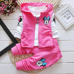 D-baby Kids Hooded Vest+T Shirt+Pants Pure cotton 3 Pcs Children Sport Suits Boys Girls Clothes Set CB002A 73(60-67cm)