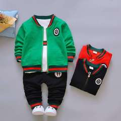 D-baby Kids Coat Jacket+T Shirt+Pants Pure cotton 3 Pcs Children Sport Suits Boys Clothes Set CB007A 73(0-8m)