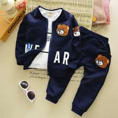 D-baby Kids Coat Jacket+T Shirt+Pants Pure cotton 3 Pcs Children Sport Suits Boys Clothes Set CB007B 110(2.5-3.5y)