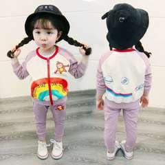 D-baby 2PCS Cute Fashion Baby Girl Rainbow Printed  Jacket + Trousers Suit, Fashion Suit, Girl Suit BE001A 73(3-8m)