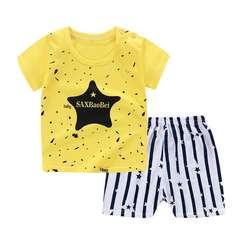 D-baby  Pure Cotton Kids Boy Toddler Shirt Top+Shorts Overalls Set Outfit 2Pcs DZ008C 55(80cm)
