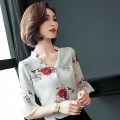 D-baby Summer Fashion Lady Flower Chiffon V-collar Middle Sleeve Top, Fashion Chiffon Top YD001A m