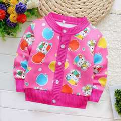 D-baby Sweater baby Thick cardigan coat girls boys cute wave fan does not play ball does not fade KZ001A 73(60-70CM)