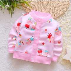 D-baby Sweater baby Thick cardigan coat girls boys cute wave fan does not play ball does not fade KZ022A 73(60-70CM)
