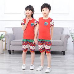 D-baby Kid's Boys or Girls, 2PCS Cotton Household Suit, Comfortable Top + Shorts Printed Cotton Suit DM018A 110(105cm)