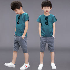D-baby Big boy size 120-160,5-10y  2PCS Kids boys T-shirt + trousers suit casual suit FS003H 140(130cm)