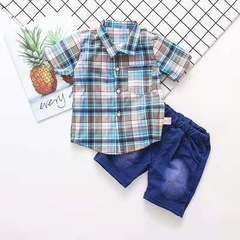 D-baby New Fashion Kids boys clothes set  Plaid Top +Shorts infant clothing set NZ009A 80(75cm)