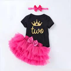 D-baby 3PCS New Baby Girl romper + Skirt + Headscarf Suit,Party Birthday Outfits Christening NE002A 59(0-3m)