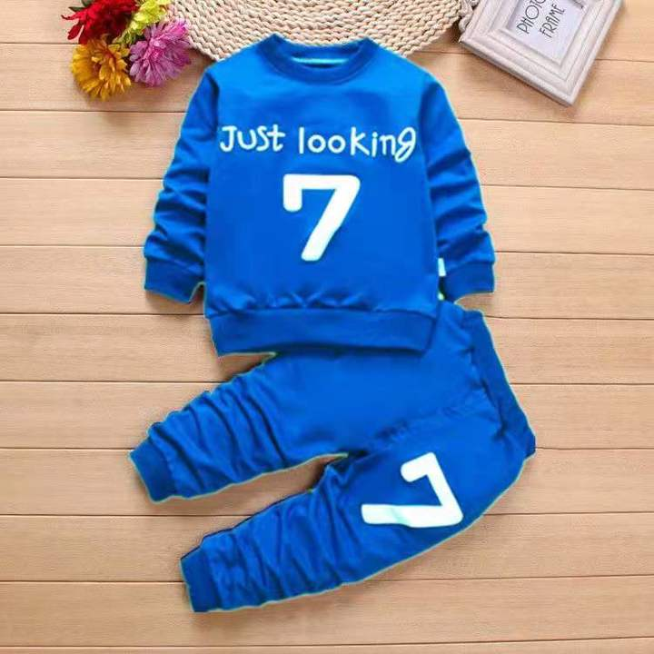 D-baby Hot Kids Boys Girls Clothing Set Baby Outfit Top+Pants Sport Toddler Tracksuit KM003A 100cm
