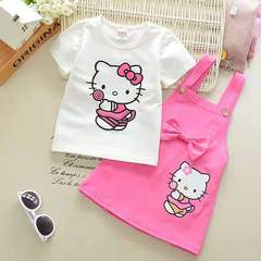 D-baby Girls'Dresses 2PCS  HellokittyTop + Slip Dress Girls' Party Wedding Princess Dresses MK002A 80(0-1Y)