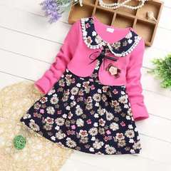 D-baby Autumn and winter , girls warm long-sleeved dress, thickened dress, floral dress TM001A 120(115cm)