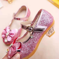 D-baby Hot Girls Shoes Lovely Diamond Bow Children Sandals High Quality Princess Kids Shoes NX003A pink 15cm