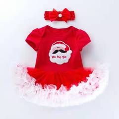 D-baby D-baby 2PCS New Baby Girl romper  + Headscarf Christmas Suit,Christmas Outfits Christening A 59(0-3m)