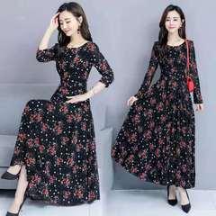 D-baby Women's fashionable flower dress milk silk elastic short sleeve high waist dress s (40-45kg) A