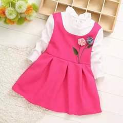 D-baby Princess Kids Baby Girl Dress Lace Floral Party Dress Gown Bridesmaid Dresses BM003A m(75cm)