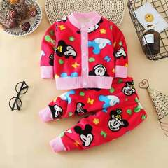 D-baby Thick cardigan coat +trousers girls boys wave fan does not play ball does not fade 01B 73(0-3M)