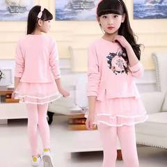 D-baby 100-150cm Kids Big Girls Clothing Set Butterfly Printing Top+ Trousers Sports suit KM010A 110(100cm)