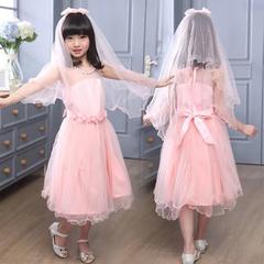 D-baby Girl Princess Dress Flower Girl Lace Dress Birthday Party Stage Dress NE006A 110(100cm)