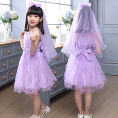 D-baby Girl Princess Dress Flower Girl Lace Dress Birthday Party Stage Dress NE006B 110(100cm)