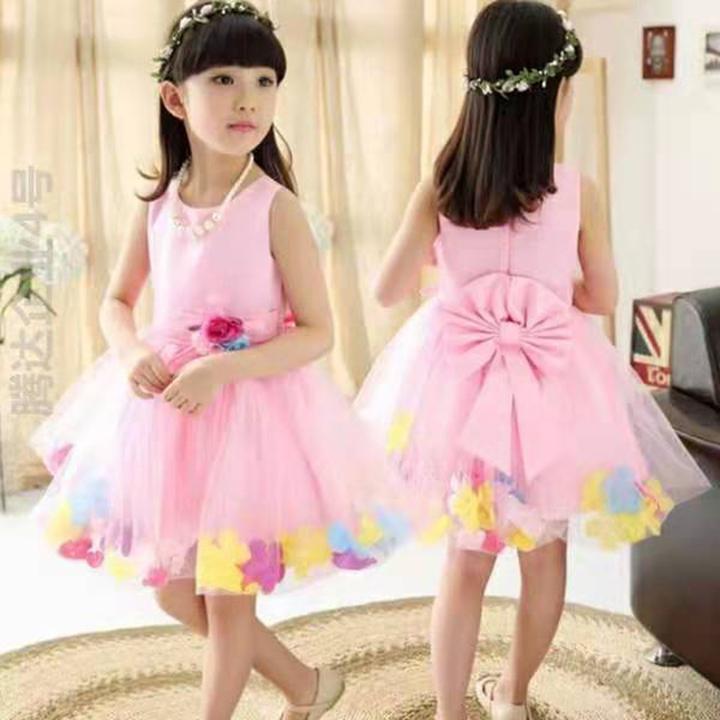 D-baby Baby Girl Lace Princess Skirt Flower Girl Dress Kids Wedding Dress Birthday Party Stage Dress CY003A light pink 100cm