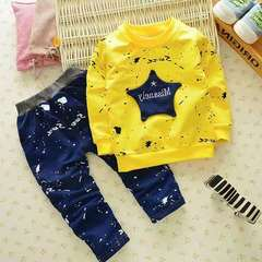 D-baby New Fashion Boys Star T-shirt+ Pants 2pcs Set Full Sleeve Clothing children active suits CT003A 110(95-105cm)
