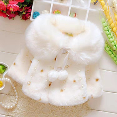D-baby Girls Fashion Shawls Girl Autumn And Winter Fur Coat Thickening Coats BY003A 66cm