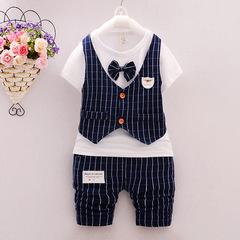 Summer Boys short sleeved bow tie T-shirt striped vest five pants suit Tibetan blue 80 cotton