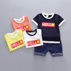 Summer children's printed short sleeved T-shirt + jeans 1-3 year old baby suit white s cotton