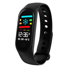 M3 color screen smart bracelet ip67 waterproof heart rate blood pressure monitoring sports sleep black one size