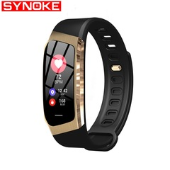 SYNOK smart bracelet sleep monitoring social reminder remote control photo sports smart watch black gold one size